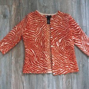 Orange zebra print cardigan